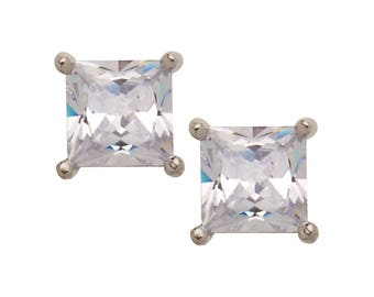 High Polished Stainless Steel April Birthstone Earrings, Square Shaped CZ Crystal Clear Stud Earrings
