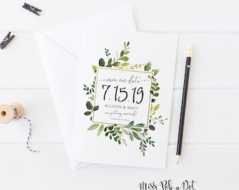 Save the Date, Prints, Greenery Wedding Invite, Nautral, Simple, Modern, Watercolor, Plant, Geometric Gold Frame, Announcement, Engagement