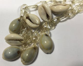 Vintage Lucite and Cowrie Shell Necklace