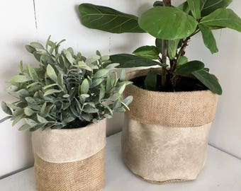 Industrial Stone Faux Leather Reversible Hessian Planter Bag