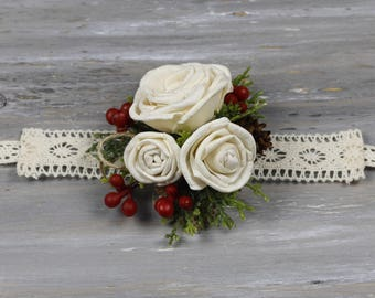 Christmas  Corsage Dried Flowers Sola Corsage  Wedding  Ivory Corsage Wrist Corsage Mothers Corsage Prom Corsage Wristlet Corsage Wedding