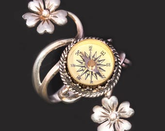 Sterling Silver Compass Ring Sterling Silver Flower Ring Compass Ring Silver Compass Ring Working Compass