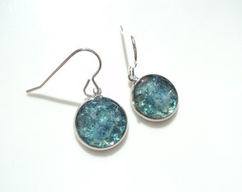 Reserved fpr Jo - Sea Glass earrings of Mid petrol blue shaded rockpools  E1796 - from Seaham,  UK