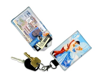 Disney Princess Cinderella Prince Charming Small Wallet Card Holder Keychain Clear ID Holder Accessory Bag Small Wallet Student ID Badge bag