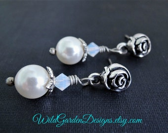 Silver Rose and Pearl Stud Earrings Wedding Jewelry Vintage Inspired White Pearl Earrings Small Pearl Dangles Silver Rose Post Dangles