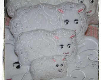 Sheep Pillow/Pin Cushion 10 x 6 inch hoop