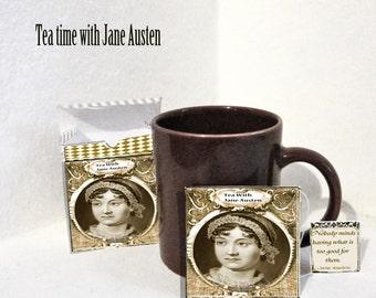 printable Jane Austen Pride and Prejudice Tea bag slips and tea box DIY