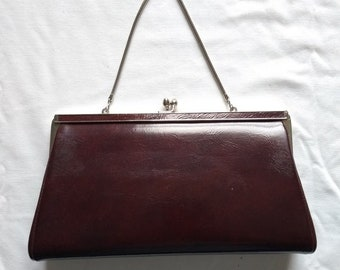 Vintage Burgundy Faux Leather Clutch Evening Purse, Millay, Satin Lined