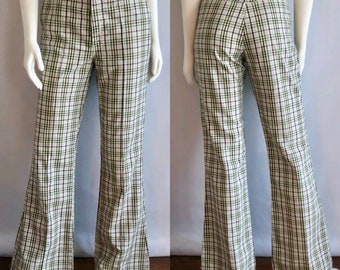 Vintage Men's 70's Levi's Plaid, Bell Bottom, Pants (W31)