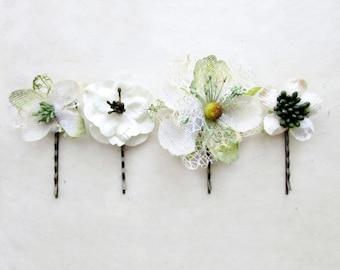 Bridal Hair Pins, Rustic Wedding Hair Flowers, Woodland Flower Clips, Spring Bride Hair Pin, Wedding Bobby Pin, Burlap White Hair Flowers