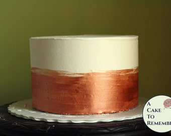 "6"" round rose gold banded fake cake for photo shoots, dummy cake tier. Faux cake wedding cake cupcake display, food prop. Engagement prop."