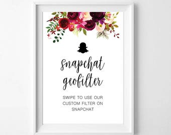 Snapchat geofilter - Floral Printable Sign