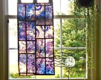 Purple Haze ~Fiber Art ~ Bleached Art Batik Pojagi Patchwork Window Treatment ~ dorm ~ cafe ~ boudoir curtain