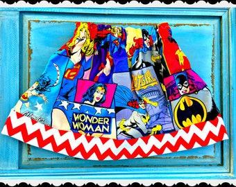 girls supergirl batgirl wonderwoman skirt  2T 3T 4T 5T 4/5 6/6X 7/8 10/12 14/16 ready to ship