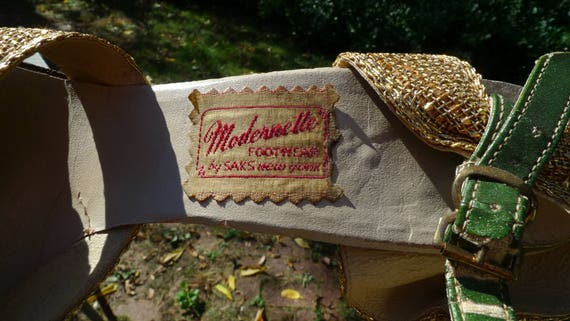 Style Sexy Fabric Vintage York Gold Saks Wow Peep New Bombshell 1930s Metallic From Toes Flapper Shoes 7RB67c