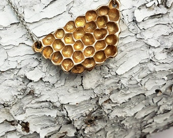 Honeycomb necklace, Bronze Honeycomb, Beehive jewelry, Honey, Bees, Nature