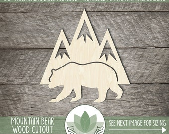 Mountain Bear Wood Cutout, Blank Wood Shapes, Wooden Bear And Mountain Shape, Mountain Nursery Decor, Wood Sign Supplies, Cabin Sign