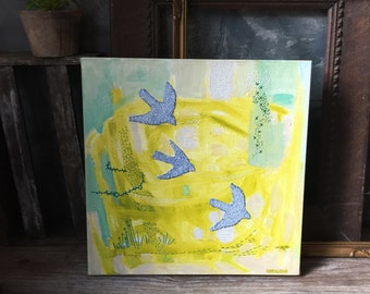 Swallows Flying Painting   Original Mixed Media Painting   Embroidered Painted Canvas   Canadian Abstract Art   Wall Decor