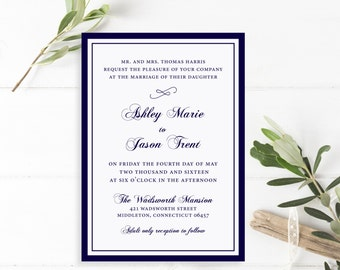 Printable Wedding Invitation Suite | The Ashley Collection in Navy & Ivory or Custom Colors | Classic Invitations | PDF or Printed Invites