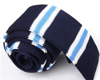 Knitted Ties..Mens Ties with White and Aqua Stripes.Knit Wedding Ties.Mens Knit Neckties