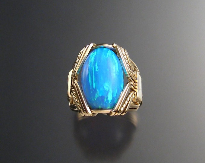 Powder blue Lab created Opal ring handcrafted in 14k Gold-filled made to order in your size