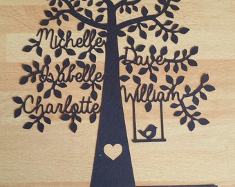 UNFRAMED Personalised Family Tree Paper Cut Design | Birthday Gift | Christmas Present | 5 Names | Unique | Wall Decor | Customised | Bird