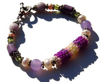Sterling and Beadwoven Bracelet with Purple Gemstone Beads