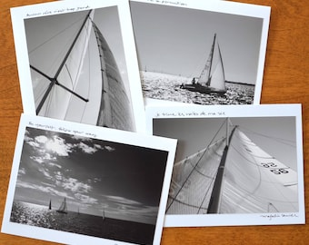 Sailing Greeting Card | Set of 4 | Signed with Hand Written Intention | Black & White | Fine Art Photography | Blank card 5x6.5, photo 4x6