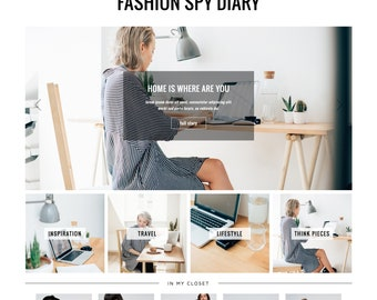 Responsive Wordpress Theme Fashion Spy // Premade Blog Design Template Ecommerce Woocommerse Website Shop