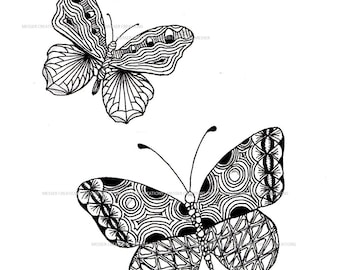 Zentangel art - Butterflies - printable - make your own card or have it printed on a mug