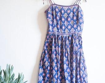 70s Indian Cotton Dress, Cotton Gauze, Midi dress, Block Print, Boho, Bohemian Style, Blues and Pinks, Gold Stamping, Shoulder Straps
