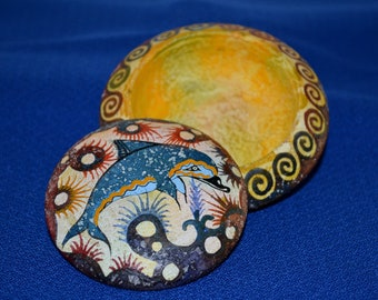 Colorful Grecian Dolphin Artisan Trinket Dish - Vintage