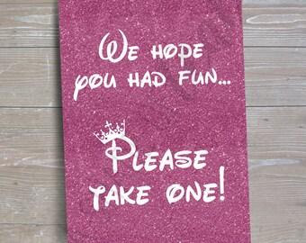 "Disney Princess ""Please Take One"" Sign v2 // INSTANT DOWNLOAD // Party Decor // Printable, Digital"