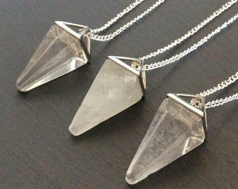 quartz necklace, quartz jewelry, quartz pendant, quartz stone, crystal necklace, crystal point, quartz point necklace, clear quartz