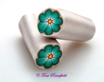 Mint Green Flower Polymer Clay Cane, Raw polymer Clay Cane, Millefiori Polymer Clay