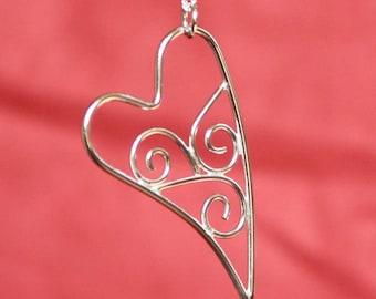 Wave Scroll Heart Sterling Silver Pendant