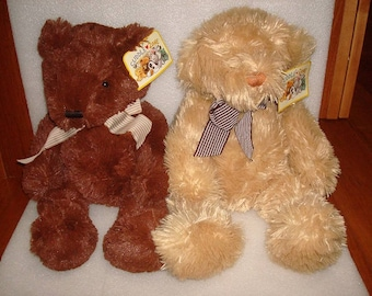 Set Of Two Stuffed Cuddle Zone Bears With Original Tags NOS