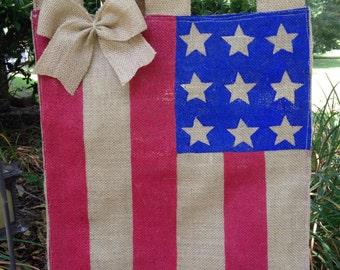 Burlap Patriotic garden flag