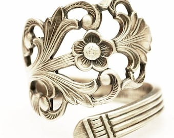 Floral Victorian Ring, Norwegian Jewelry, Nordic Ring, 830 Sterling Silver Spoon Ring, Handmade Norway, Adjustable Ring Size 5 6 7 8 (8000)