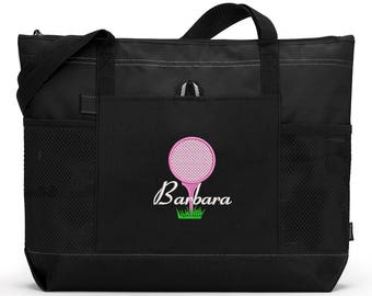 Golf Embroidered Zippered Tote Bag With Mesh Pockets, Beach Bag, Boating