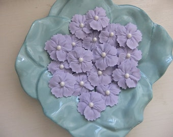 """Lilac 1 3/4"""" to 2"""" Royal Icing Flowers with White Candy Ball Centre ReADy To ShIp! Cupcake Toppers Cakes"""