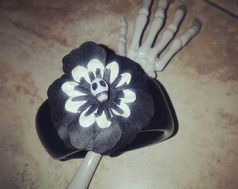 Skull and flower black bangle bracelet