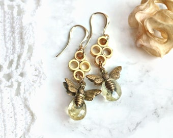 Golden citrine earrings, honey bee earrings, November birthstone, insect jewelry, eco-friendly upcycled, recycled, geometric