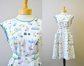 1940s Easter Bunny Pinafore Dress