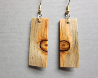 Glowing Pine Beautiful Long Exotic Wood Earrings handcrafted by ExoticwoodJewelryAnd