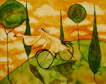 Farmhouse Hubbs Art Folk Prints Whimsical Landscape Tuscan Contryside Goose Girl Bike
