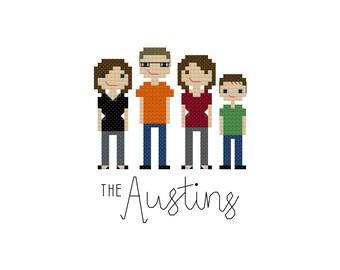 Faux Custom Cross Stitch Family Portrait--Art Print