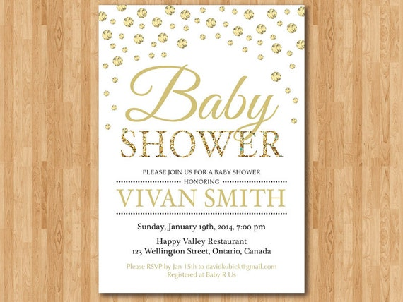 Baby shower invitation gold glitter white boy or girl baby filmwisefo