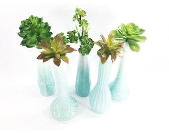 Blue & White Ombre Painted Vase Set / Wedding Vases / Frozen Birthday Party / Blue Baby Shower Decorations / Flower Vase Set of 5