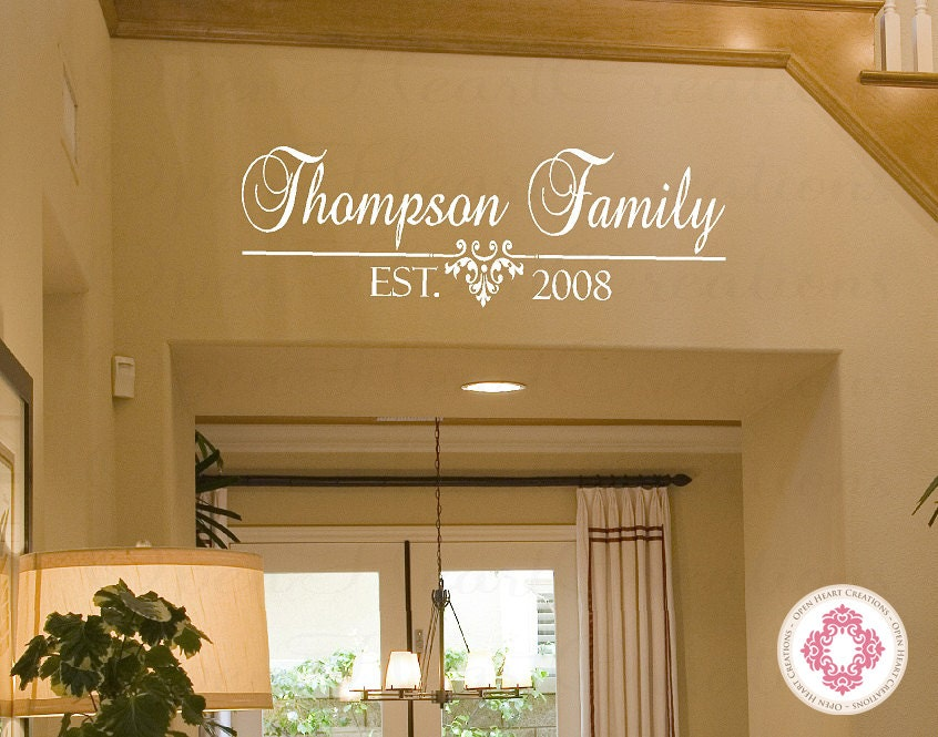 Family Name Vinyl Decal With Established Date Personalized